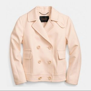 Coach Round Collar Cotton Peacoat in Apricot